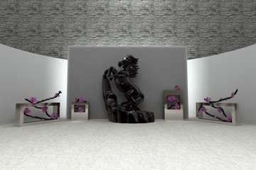 Beautiful 3d interior. Modern or Ancient style. Exhibition. High resolution 3D Render