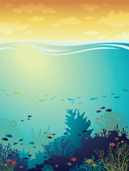 Seascape - coral reef and fish.