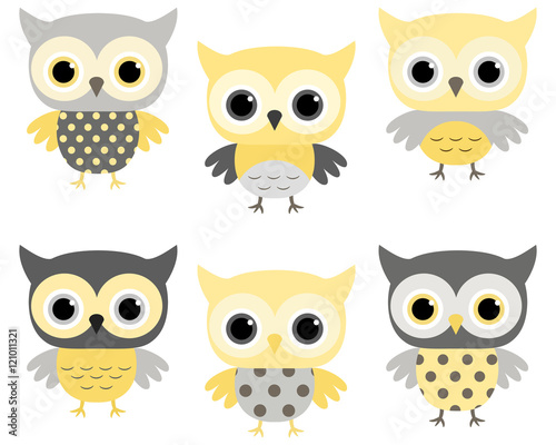 cute cartoon baby owls in grey and yellow stock image and royalty rh fotolia com baby owl cartoon clip art free cute baby owl cartoon