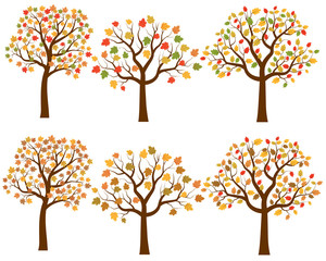 Vector set of cartoon autumn trees