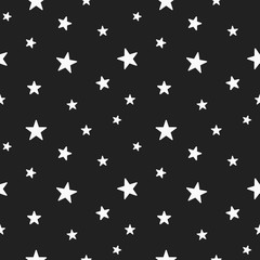Star seamless pattern. Cute white stars. Baby Shower background.