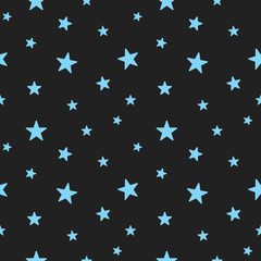 Star seamless patterns. Cute light blue stars. Babies Fashion.