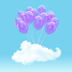 Escape conceptual- 3d Purple balloon holding cloud into the sky background