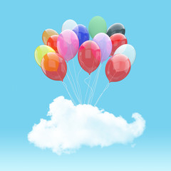 Escape conceptual3d bunch of balloons holding cloud into the sky background