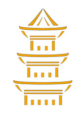 Vector image of a Japanese pagoda to cut