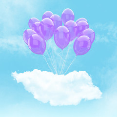 Escape conceptual- Purple balloon holding cloud into the sky background