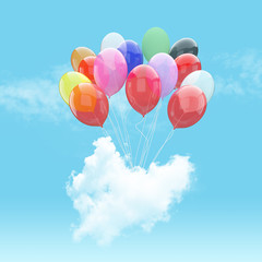 Escape conceptual- 3d bunch of balloon holding heart beat cloud into the sky background