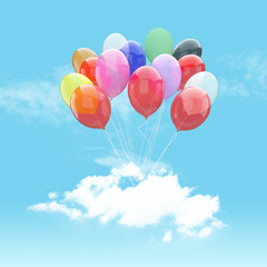 Escape conceptual-Bunch of colorful balloons holding cloud into the sky background
