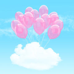 Escape conceptual- bunch of pink balloon holding cloud into the sky background
