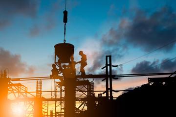 Silhouette People heavy industrial sector construction worker en