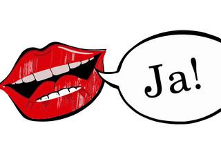 Lippen mit Ja Sprechblase