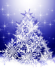 Christmas tree made of white snowflakes on a blue background
