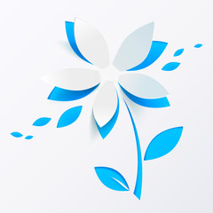 Blue paper flower vector greeting card template