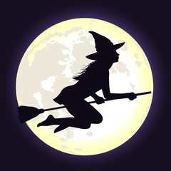 Black silhouette of witch flying on broomstick with moon.