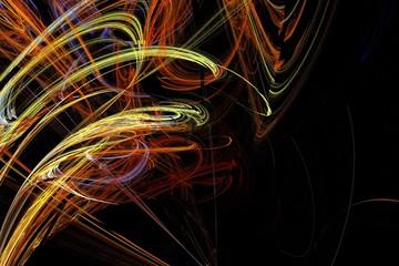 Abstract colorful lightning fractal black background. Light drawing laser. Fractal art background for creative design. Decoration for wallpaper desktop.