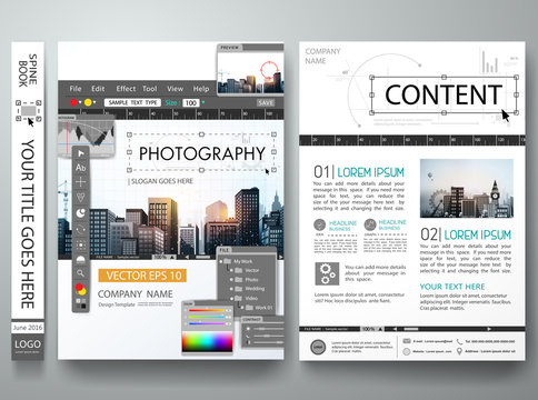 Photography editor monitor design in cover book portfolio presentation poster.Brochure design template vector.Photo city design on A4 layout.Flyers business magazine portfolio layout.Workspace editor.