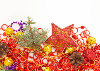 Christmas decorations on a white background. Place for your text