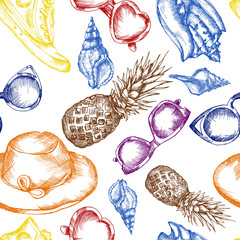 Vector Summer seamless pattern. Hat, sunglasses, shells, pineapple.Hand drawn engraving illustration on white background.Summer sketch drawing.