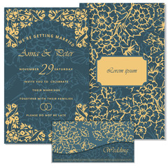 Printable Wedding Invitation Template: invitation,  thank you card, save the date cards. Wedding set.  Marriage event.