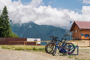 Mountain summer view with a few bicycle. Krasnaya Polyana. Sochi