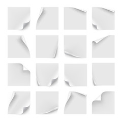 Vector set of white stickers. Paper for note, memo and notice. Sticky page with curl. Blank with shadow isolated on white background.