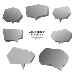 Polygonal cloud speech bubble 3d template set. Vector illustration.
