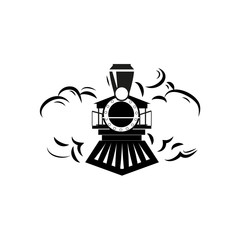 Retro locomotive outline design logo vector illustration