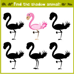 Educational game for children of kindergarten and school age on the development of logic. Flamingo. Vector