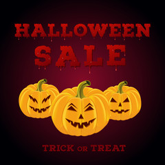 Design of the flyer with halloween sale inscription on white background. Template of poster with scary carved pumpkins