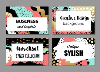 Set of artistic creative universal cards with hand drawn textures. Colorful design for wedding, birthday, Valentine's day, party, invitation, placard, poster, flyer, business. Bright colors design.