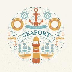 Concept with sea symbols.
