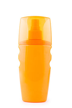 Sunscreen isolated on white background