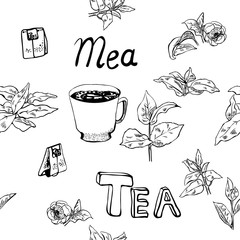 Seamless pattern with tea bags, cups, tea leaves and flowers