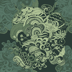 Seamless pattern in shades of green with a doodle patterns