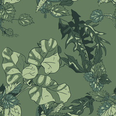 Seamless pattern with dandelion and burdock