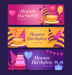 Happy birthday banners collection.
