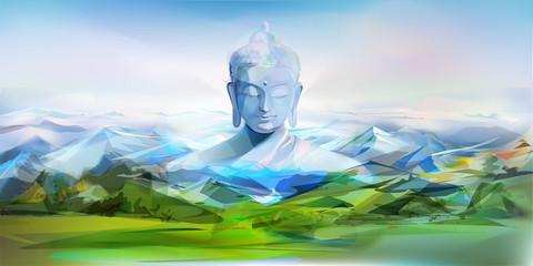 Buddha And Mountains, Vector Landscape