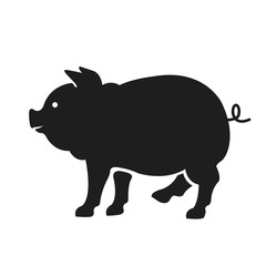 Vector pig silhouette. Black color illustration isolated on white background