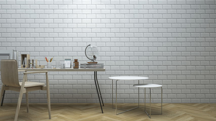 3d rendering brick wall working roon with vintage decoration style
