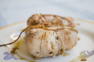 turkey roulade with white wine sauce