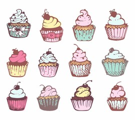 Sketches of a variety of cupcakes.