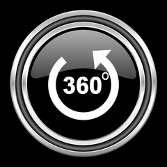 panorama silver chrome metallic round web icon on black background