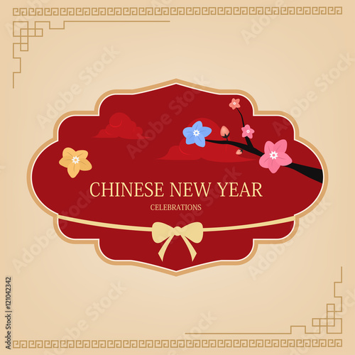 chinese new year design elements chinese label