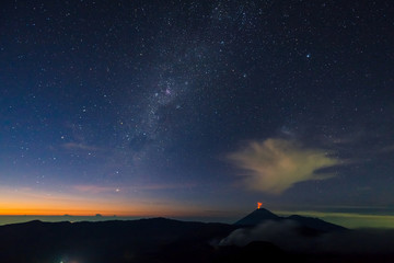 Sunrise at Mount Bromo volcano, the magnificent view of Mt. Brom