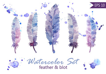 Watercolor feathers and blot set.