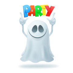 Smiley cartoon ghost character party concept card