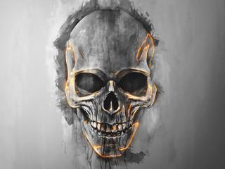 Black skull energy glow - illustration