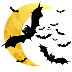 BAt on the background of the moon