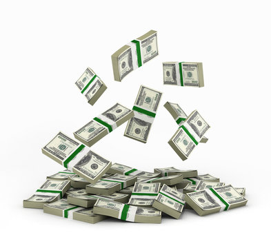 pile of money american dollar bills 3d render