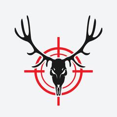 deer skull on red target